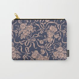 Modern Vintage Navy Blue Rose Gold Polka Dots Floral Carry-All Pouch