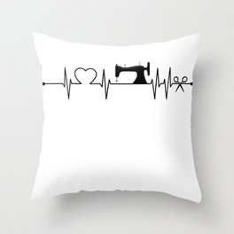 Sewing Heartbeat Dark Throw Pillow