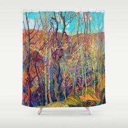 Franklin Carmichael Silvery Tangle Shower Curtain