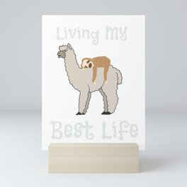 Cute Sloth & Llama Living My Best Life Mini Art Print