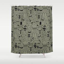 BIENNALE_COMBO_KHAKI_NOIR Shower Curtain
