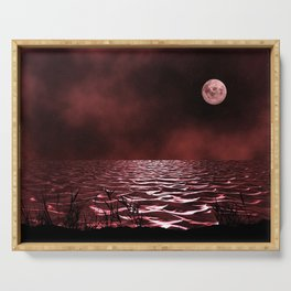 Blood Moon and Sea Serving Tray