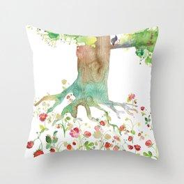 BIRD'S STRAWBERRY FIELD Throw Pillow
