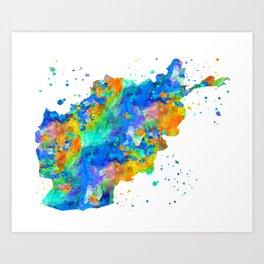 Afghanistan Map Art Print