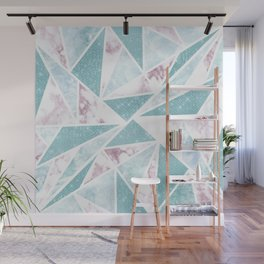 Chic Teal Glitter Pink Marble Geometric Triangles Wall Mural