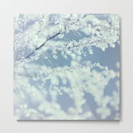Ice Blue Delicate Flowers Metal Print