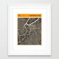 kansas city Framed Art Prints featuring KANSAS CITY MAP by Jazzberry Blue