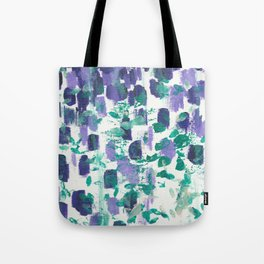 Experimental 3 - Abstract painting in modern bright indigo, purple, cream, and green dots Tote Bag