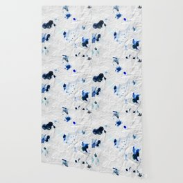 Accidental Blue and Black Ink Spot Abstract Art Wallpaper