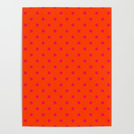 Orange Pop and Hot Neon Pink Polka Dots Poster