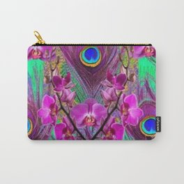 Blue Green Peacock Feathers Fuchsia Orchid Patterns Art Carry-All Pouch