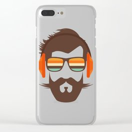 Hipster Face with Headphone Clear iPhone Case