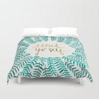 mint Duvet Covers featuring Treat Yo Self – Gold & Turquoise by Cat Coquillette