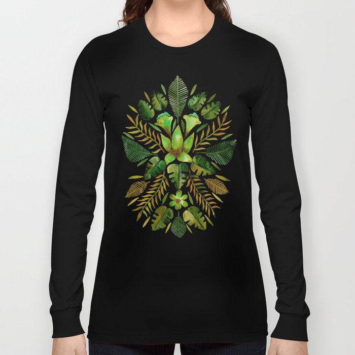 Tropical Symmetry – Olive Green Long Sleeve T-shirt