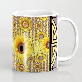 MODERN  ART DECO GOLDEN SUNFLOWERS  GREY-BLACK Coffee Mug