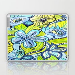 Turquoise, Yellow, and Green Floral Laptop & iPad Skin