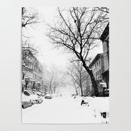 New York City At Snow Time Black and White Poster