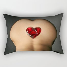 3982-TW Submissive Nude Woman Kneeling Naked With Red Glass Heart Ashtray On Her Butt Rectangular Pillow