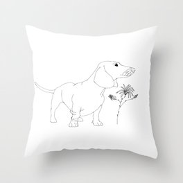 Dachshund illustration Throw Pillow
