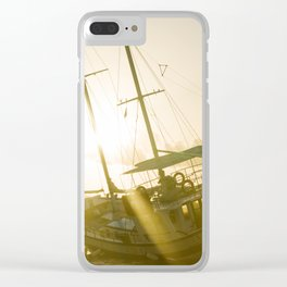 Wrecked boat abandoned stand on beach in RHodes Greece Clear iPhone Case