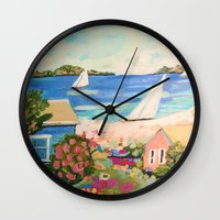 karen hallion Wall Clocks featuring Pink Hibiscus by Karen Fields by Karen Fields Design
