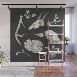 Bones and Botanical Sketches Wall Mural