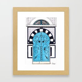 Blue Door in Sidi Bou Said with tiles Framed Art Print