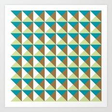 Mid-century pattern (blue & brown triangles) Art Print