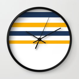 Yellow - blue - white stripes Wall Clock