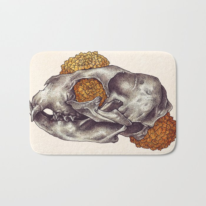 Inktober Cat Skull Bath Mat