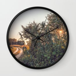 Country dirt road in Lomellina at sunset Wall Clock