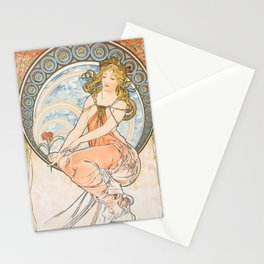 A Nature Nymph Looks at a Red Flower by Mucha Stationery Cards