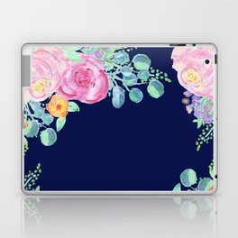 light pink peonies with navy background Laptop & iPad Skin