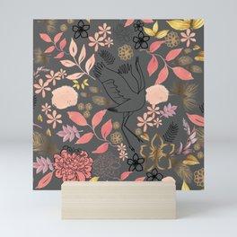 bird in floral forest Mini Art Print