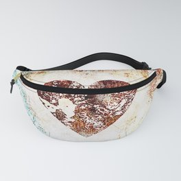 Vintage Heart Abstract Design Fanny Pack