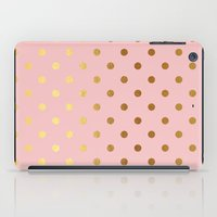 bisexual iPad Cases featuring Golden polka dots on rose gold backround   by Better HOME