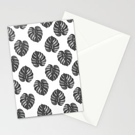 Monstera house plant leaf black and white painting  hipster indoor house plant tropical garden   Stationery Cards