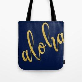Aloha gold brush script on midnight navy blue glam summer design Tote Bag