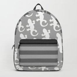 Whtie and Grey Lizard Backpack