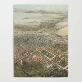 Vintage Pictorial Map of Mexico City (1869) Poster