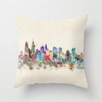 philadelphia Throw Pillows featuring philadelphia pennsylvania by bri.buckley