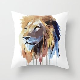 The Lion - watercolor Throw Pillow