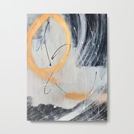Midnight Time Lapse: a minimal, abstract mixed-media piece by Alyssa Hamilton Art in Gold, Black Metal Print