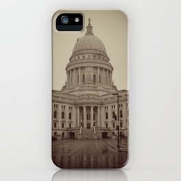 Madison Wisconsin Capital Building Architecture Sepia Photography iPhone Case