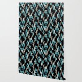 Mid Century Modern Diamonds (Black) Wallpaper