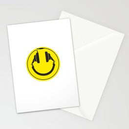 Headphones smiley wire plug Stationery Cards