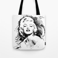 monroe Tote Bags featuring Monroe by Ron Jones The Artist