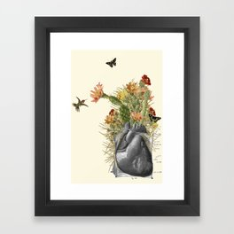 thorns anatomical heart collage by bedelgeuse Framed Art Print