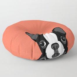 Boston Terrier Peek - Black on Sunset Red Floor Pillow