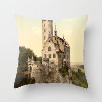 lichtenstein Throw Pillows featuring Lichtenstein Castle by BravuraMedia